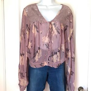 Free People Lilac Floral Mesh Lace Long Sleeve Top